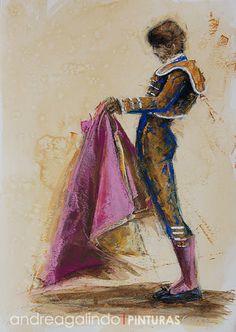 Andrea Galindo. Pintura: TOREROS VIII PROCEDIMIENTO MIXTO CAFÉ