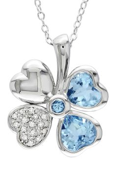 Sterling Silver Blue Topaz & Diamond Four Leaf Clover Pendant Necklace