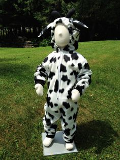 Child Size 4T/5 Black and White Fleece Cow Costume