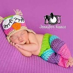 567eb3174 Crochet Baby Owl Hat Pants Diaper Cover Set Striped Rainbow Beanie Handmade  Infant Newborn Baby Photography Photo Prop Baby Shower Gift