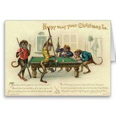 Victorian Monkey Christmas Card