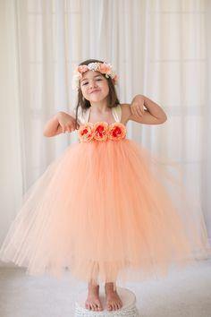 Peach - Flower Girl Tutu Dress with Flower Trim