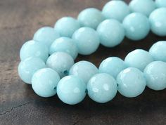 Faceted Jade Beads, Pale Aqua, 8mm Round - 15 Inch Strand