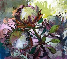 Protea Trio by Jenny Parsons (South Africa) Watercolor Flowers, Watercolor Art, Painting Flowers, Flower Paintings, Protea Art, Protea Flower, Plant Painting, Paintings I Love, Flower Art