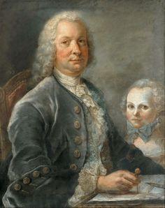 Portrait d'un architecte et une petite fille, avec un plan, 1749 François Dorly