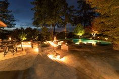 The Bissell Landscape Outdoor Pool - Designed by Paradise Restored Landscaping & Exterior Design of Portland, Oregon. Backyard Covered Patios, Backyard Patio Designs, Fire Pit Backyard, Patio Ideas, Landscaping Ideas, Outdoor Pavilion, Outdoor Pool, Outdoor Decor, Outdoor Ideas