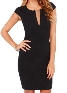 6382dd79ec Chicloth Back Zipper Short Cap Sleeve Slim Pencil Black Dress Plunge V Neck