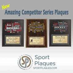Have you seen our new line of Amazing Competitor Plaques yet? These word bubble plaques are customizable not only on the bottom plate with your logo and athlete information but also the colors in the word art on top. Visit our website get started. We have many sports to choose from! #AmazingCompetitor #SportPlaques #AthleticAward #CustomPlaque #WhatsYourSport Sports Trophies, Award Plaques, Sports Signs, Sports Awards, Recognition Awards, National Championship, Team Photos, Exciting News, Sign Quotes