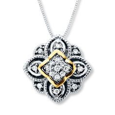 Diamond Necklace 1/8 ct tw Round-cut Sterling Silver/10K Gold