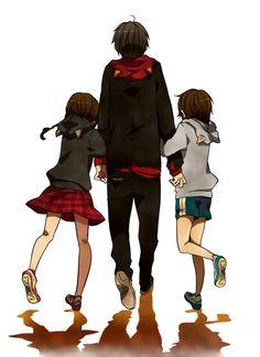 Kururi, Mairu, and Izaya Orihara Durarara, Izaya Orihara, Shizaya, Anime Siblings, Anime Child, Anime Couples, Anime Guys, Manga Anime, Anime Art
