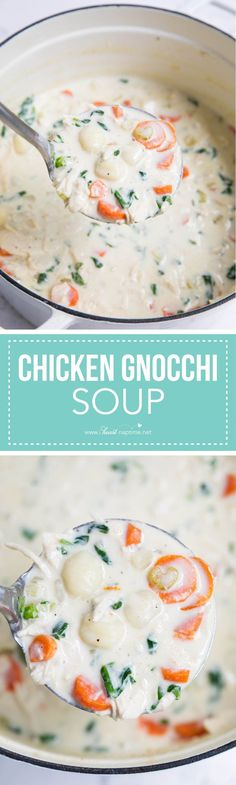 This homemade chicken gnocchi soup is the perfect comfort food... creamy, hearty and delicious! Only takes one pot and 30 minutes to make.