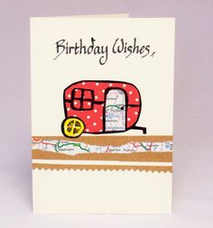 Caravan calligraphy birthday card by QuillPaperScissors on Etsy