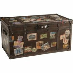 "An eye-catching addition to your living room or den, this vintage-inspired trunk table showcases a travel sticker motif and removable interior tray.   Product: Trunk tableConstruction Material: WoodColor: WalnutFeatures:  Lift up top Removable trayMade in the Philippines Dimensions: 19"" H x 36"" W x 20"" D"