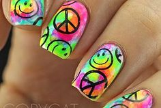Tie Dye Nails With Stamping