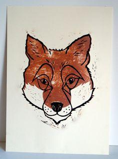 Limited Edition Hand Printed Fox Print
