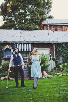 Alice in Wonderland wedding inspiration- engagment photoshoot