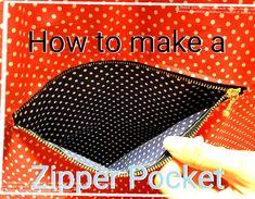"""バッグやリュックによく付いている""""ファスナーポケット""""。じつは自分でも結構簡単に作れちゃうんです★今回はファスナーポケットの基本的な作り方を紹介します(^^)準備するもの★ファスナ"""