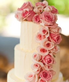 pink rose wedding cake / Jason Tey Photography