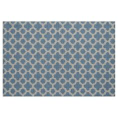 Smokey Gray Blue Ikat Quatrefoil Pattern Fabric - classic gifts gift ideas diy custom unique