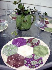 Pieced Table Topper Patterns - No Seam Hexagon Place Mats Pattern