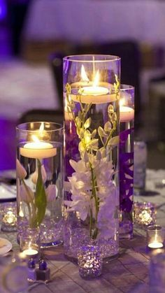8 Exceptional Purple Color Combos 8 Exceptional Purple Color Combos 7 Exceptional Purple Color Combos to Rock for candle wedding centerpieces with purple and white flowers, diy wedding reception table settings for fall and winter dinner reception<br> Floating Candles Wedding, Romantic Wedding Centerpieces, Floating Candle Centerpieces, Wedding Reception Centerpieces, Romantic Weddings, Unique Weddings, Purple Centerpiece Wedding, Centerpiece Ideas, Purple Table Decorations