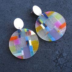 earrings- plastic, recycled materials, silver, pigment; Dorota Kos