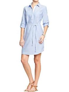 Old Navy: Womens Oxford Shirtdresses, Light Blue, Ultra Preppy, style with a pair of neutral or red wedges, $34.94