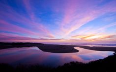 Nature's Echo: reflection at it's finest here! This shot was taken at a pull-out above North Salmon Creek Beach. It's a shot of Salmon Creek running into the ocean, the colors were incredible. A nice winter Bodega Bay Sunset! Scenery Wallpaper, Landscape Wallpaper, Hd Wallpaper, Desktop Wallpapers, Sunrise Landscape, High Definition Pictures, Bay Photo, Hdr Photography, High Resolution Wallpapers