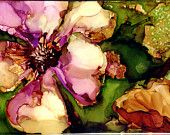 Magnolia in Secondaries - print of original alcohol ink painting