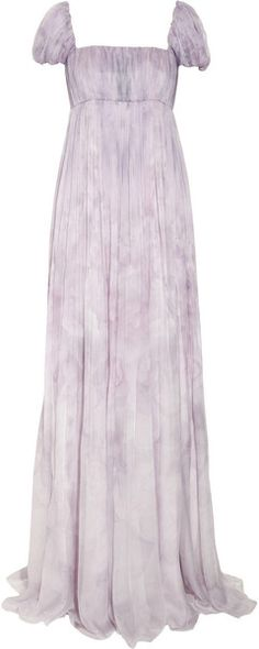 ALEXANDER MCQUEEN Pale lilac purple long silk chiffon gown with watercolor impressionist floral. Empire with puff sleeves and ruched bodice.