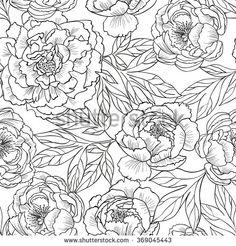 Peony flowers.Vector seamless pattern