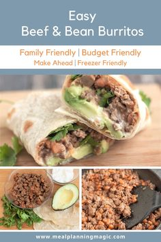 A family favorite for years, my Easy Beef and Bean Burritos recipe is so simple and also also budget friendly. They're full of flavor and can be customized with add on ingredients your family loves, too! #groundbeefrecipe #easyrecipe #familyfriendlyrecipe #budgetfriendlyrecipe #makeaheadrecipe #familyfriendlyrecipe