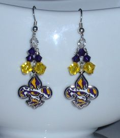 Lsu Earrings Eye Of The Tiger Bling Purple And Gold Crystal Fleur De Lis Dangle Tigers Accessory College Fanwear
