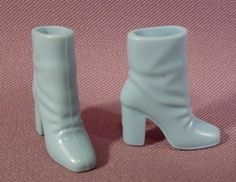 """Barbie Doll Pair Of Pale Blue High Heel Ankle Boots Shoes, 1 1/4"""" Tall, Soft"""