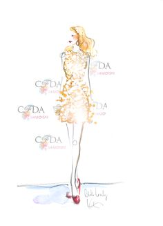 Blake Lively sketched by @Katie Hrubec Rodgers | Paper Fashion  #CFDAAwards #RedCarpet #CFDASwarovski