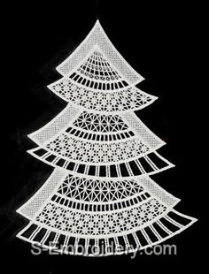 SKU 10451 Freestanding Lace Christmas Tree Window Decoration