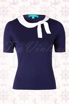 Fever 50s Newquay Navy Blue Top 111 31 15901 20150420 0005W