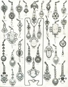 Vintage catalog page showing a wide variety of lavalier styles. - lavaliers - Vintage catalog page showing a wide variety of lavalier styles. Vintage catalog page showing a wide variety of lavalier styles. Jewelry Ads, Jewelry Model, Old Jewelry, Antique Jewelry, Vintage Jewelry, 1920s Jewelry, Antique Gold, Jewelry Rings, Jean Vintage