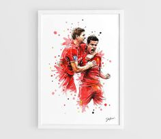 Steven Gerrard Philippe Coutinho Liverpool FC A3 Wall Art Print Poster of the Original Watercolor Painting Football Posters by NazarArt