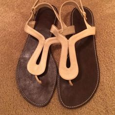 Leather Sandals Excellent Condition, Beige/Pearl