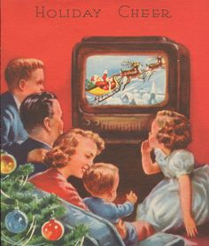 Vintage family around tv Christmas special