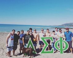 The gentlemen of Delta Sigma Phi at their brotherhood on the beach.