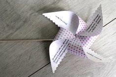 DIY - Réaliser un menu en forme de moulin à vent, idéal pour tous vos évènements, baptême, anniversaire, mariage... #DIY #Evènement #Papeterie #Mariage