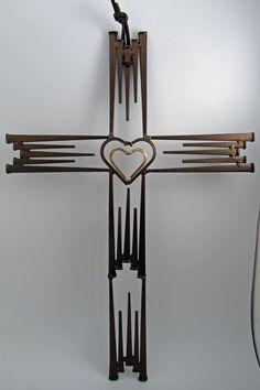 Double Heart 29 Nail Cross