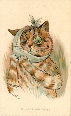 Louis Wain – part 6 Louis Wain Cats, Cat Mouse, Cat Cards, Vintage Cat, Cat Drawing, Illustration Art, Cat Illustrations, Cool Cats, Cats And Kittens