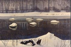 """""""Sable River, Winter Adirondacks"""" by Kent Rockwell, n.d."""