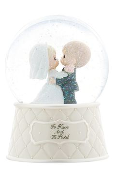 """Precious Moments """"To Have And To Hold"""" Musical Water globe Figurine Water Globes, Snow Globes, Chrissy Snow, Precious Moments Wedding, Wedding Moments, Globe Cake, Snow Wedding, Dream Wedding, Precious Moments Figurines"""