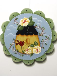 Birdhouse Scalloped Sign with Cardinal Vines by ToleTreasures