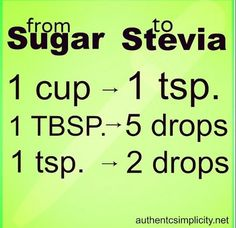 Substitute Stevia for Sugar - Replacing sugar with stevia in most recipes is really as simple as shown in this chart. When baking use a combination of erythritol+stevia. You can grow stevia too! Sugar Free Desserts, Sugar Free Recipes, Low Carb Desserts, Stevia Desserts, Diabetic Friendly Desserts, Sugar Free Baking, Diabetic Meals, Diabetic Dessert Recipes, Sugar Free Frosting