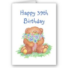 Old Age Humor 39th Birthday, Cute Teddy Bear Flowers by countrymousestudio
